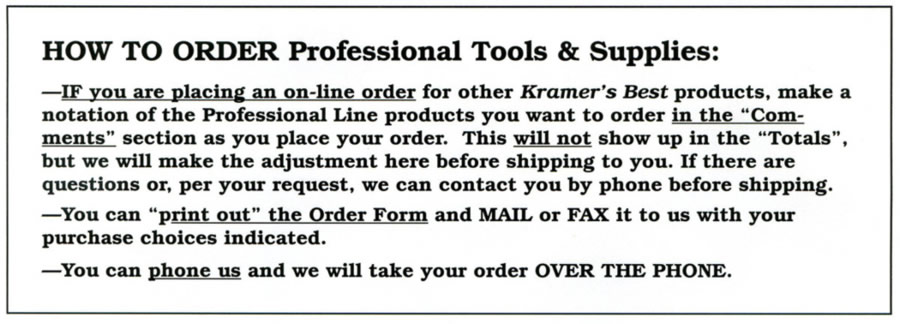 Professional Line - How To Order